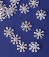 50 x 15mm WHITE ACRYLIC PEARL SNOWFLAKES Wedding Invitation Stick On Toppers