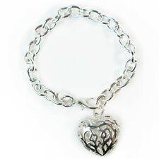 Chain Link Silver Plated Openwork Heart Charm Bracelet Love Chunky 925 Filigree