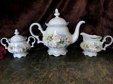 HP Tea Pot Sugar Creamer Set Hutschenreuther Gelb Bavaria Germany Sgn Schwessing