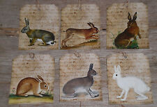 12 Primitive Folk Art Vintage Look Bunny Rabbit  Hang Tags Gift Ties Ornies