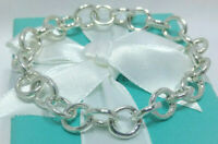 Tiffany Co Round Clasping Link Chain Bracelet Sterling Silver AG 925 Italy NEW