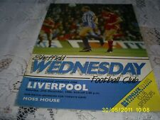 RARE FOOTBALL PROGRAMME 1986 DIVISION 1 GAME SHEFFIELD WEDNESDAY V LIVERPOOL