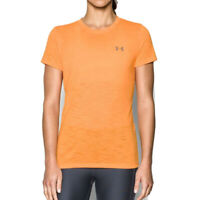Under Armour Womens Threadborne Train Slub T Shirt Tee Top Orange Sports Gym