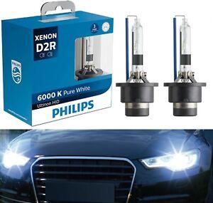 Philips Ultinon HID Xenon D2R 6000K White Two Bulbs Head Light Low Beam Upgrade
