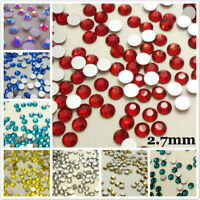 SS10 (2.7mm) Flat back Rhinestones Crystal Glass Nail Art Non Hotfix 1440ps U1