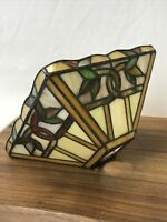 """Vtg Stained Glass Lamp Shade Arts & Crafts Mission for Pendant 8W 4T 1 5/8"""" hole"""