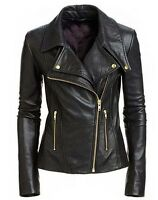 Women Black Soft Sheep Skin Real Golden Zipper Leather Jacket
