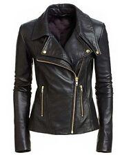 Women Black Soft Sheep Skin Real Golden Zipper Leather Jacket