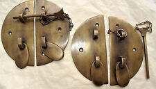 "2  Door box Latch catch brass furniture antique bolt chain asian style 3.1/2"" B"