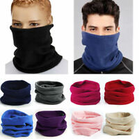 Mens Ladies Fleece Snood Scarf Winter Neck Warmer Ski Beanie Hat Tube Head Scarf