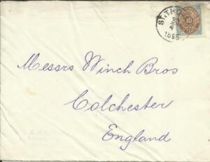 Danish West Indies Sc#10 ST THOMAS 30/4/1895 commercial use to England