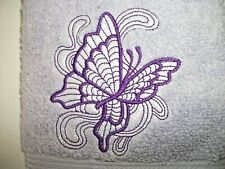 BUTTERFLY EMBROIDERED LILAC COLOR HAND TOWEL