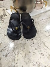 TORY BURCH Wedge Flip Flops Thin Strap Black Sandals Preowned