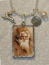 Elegant Gold Santa & Victorian Christmas Girl Reversible Postcard Necklace
