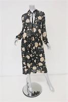 Ganni Dress Carlton Black Floral Print Georgette Size 38 Long Sleeve Midi NEW