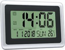 Digital Wall Clocks Large Decorative Lcd Alarm Free Standing Clock Black Silver