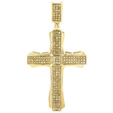10K Gold Canary Yellow Diamond Cross Pendant Mens Pave Set Design Charm 0.40 Ct.