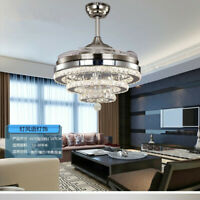 "42"" Remote Retractable Blades Crystal Ceiling Fans LED Light Chandelier Fixtures"
