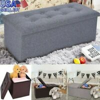 Foldable Storage Stool Fabric Storage Ottoman Change Shoes Sofa Stool Gray Y92
