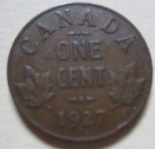 1927 Canada Small Cent Coin. SEMI KEY DATE.