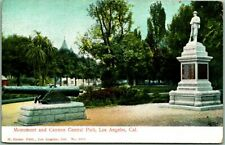 """c1900s Los Angeles, California Postcard """"Monument and Cannon, CENTRAL PARK"""""""