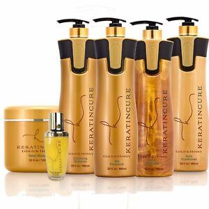 Keratin Cure Hair Treatment Gold & Honey Bio 32-4 Oz Silky Straightening 6PC Kit