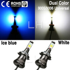 SET LED Light 9005 9006 Bulb Dual Color Kit For Fog Light Car COB White Ice Blue