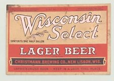 Irtp U# 1/2 Gal. Wisconsin Select Beer Label Christmann Brew. Co. New Lisbon, Wi
