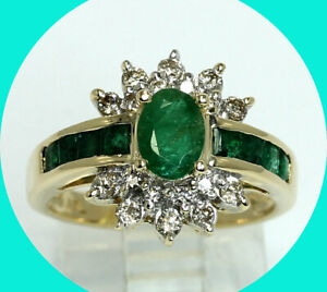 1.60CT diamond emerald cocktail ring 14K YG green oval princess birthstone
