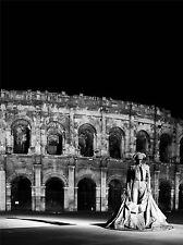 Estatua Torero Arena de Nimes Francia Negro estampado en blanco Cartel imagen bmp844a