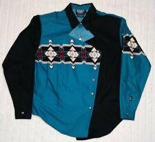 Vintage Brooks & Dunn Panhandle Slim Teal Black Aztec Western Shirt Size Medium