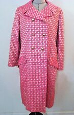 Vintage 60's dress coat pink gold lame metallic double breast button up size M L