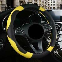 Universal Car Auto Steering Wheel Cover Glove PU Leather Anti-slip Yellow 38CM