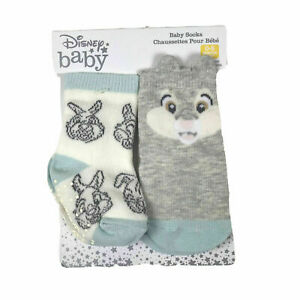 Disney Store Baby 2 Pk Grey Green Crew No Slip Thumper Graphic Sock Set 0-6 MO