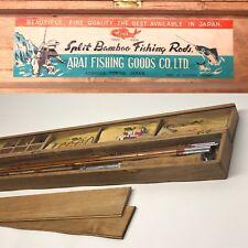 Vintage 1940-50s Split Bamboo Fly Rod Arai Fishing Goods Co. Ltd. Occupied Japan