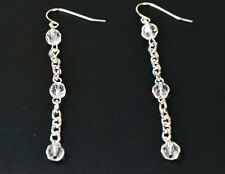 LADIES LONG SILVER/CLEAR STONE LAYERED EARRING UNIQUE STATEMENT BRAND NEW(ZX8)