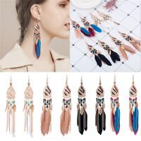 Popular Women Bohemian Earrings Long Feather Tassel Fringe Boho Dangle Earrings