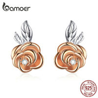BAMOER Women Rose Flower Stud Earrings S925 Sterling silver with AAA CZ Jewelry
