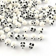 50 x 10mm White Skull Printed Acrylic Bead Sugar Skull Jewellery Making