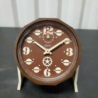 VTG Linden Alarm Clock Wind Up Brown Mid Century West Germany Working