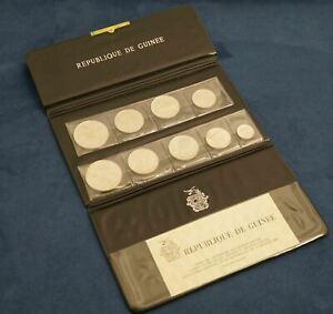 1969 Republic Of Guinea 9 Coin Silver Proof Set w/ COA In Original Wallet