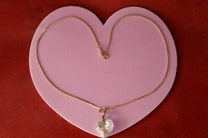 """PRETTY NECKLACE WITH GOLD PLATED HEART CRYSTAL PENDANT 16"""" CHAIN IN BOX"""