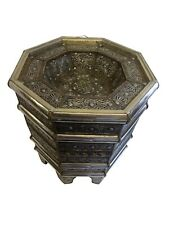 Moroccan End Table Silver Filigree and Hand Painted with Glass Top