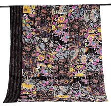 INDIAN FLORAL PATCHWORK TWIN KANTHA QUILT BLACK BEDSPREAD COTTON BLANKET THROW