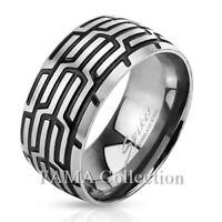 FAMA 10mm Stainless Steel Grooved Tire Tread Band Ring Size 9-13