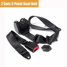 2 Sets Retractable 3 Point Style Car Safety Seat Belt Lap Kit Black Polyester