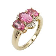 Pink Tourmaline Diamonds 14K SOLID YELLOW GOLD Ring Sz 7.25 Back to School Sale