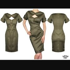 BNWT Living Dead Souls Rockabilly Pin Up Military Wiggle Dress 40s Khaki M 8 UK