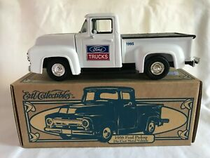 ERTL COLLECTIBLES 1956 FORD PICKUP DIECAST METAL VEHICLE BANK WITH COA & BOX