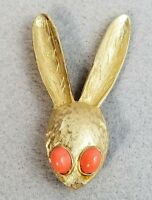 Vintage Hattie Carnegie Signed Bunny Rabbit Head Pin Brooch Gold Tone 2 1/2""